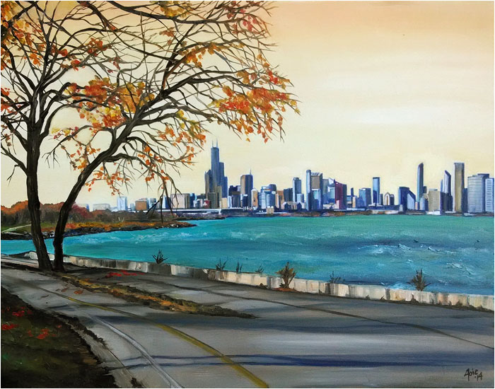 """Along Lake Michigan 2"" - Chicago Painting Paper Print"