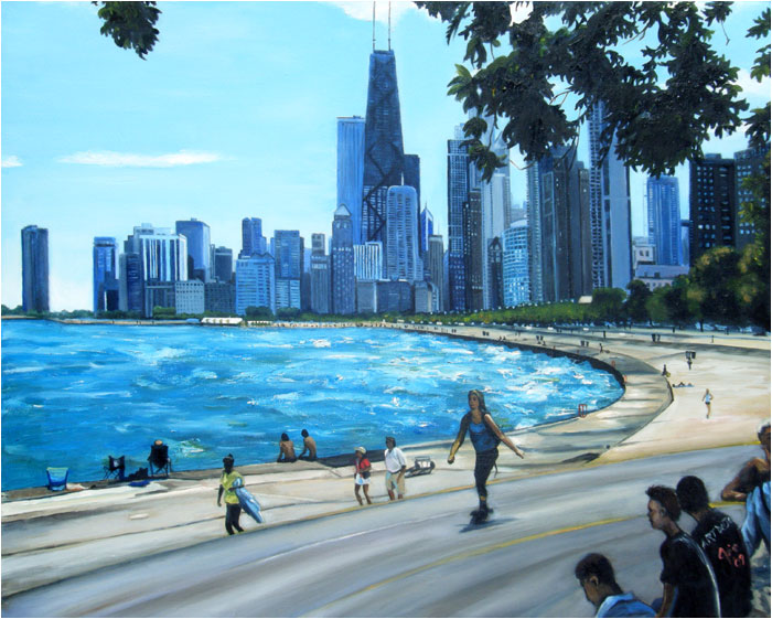 """Along Lake Michigan"" - 15x12"" Chicago Painting Paper Print"