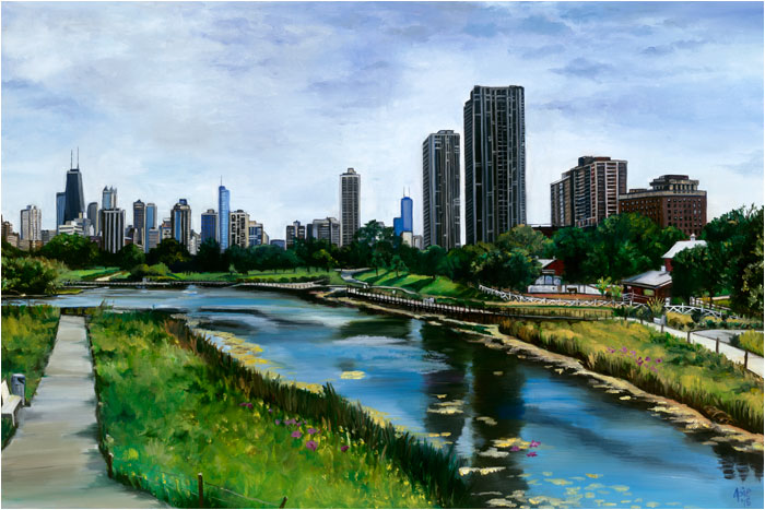 """Spring Scene"" - 18x12"" Chicago Painting Paper Print"