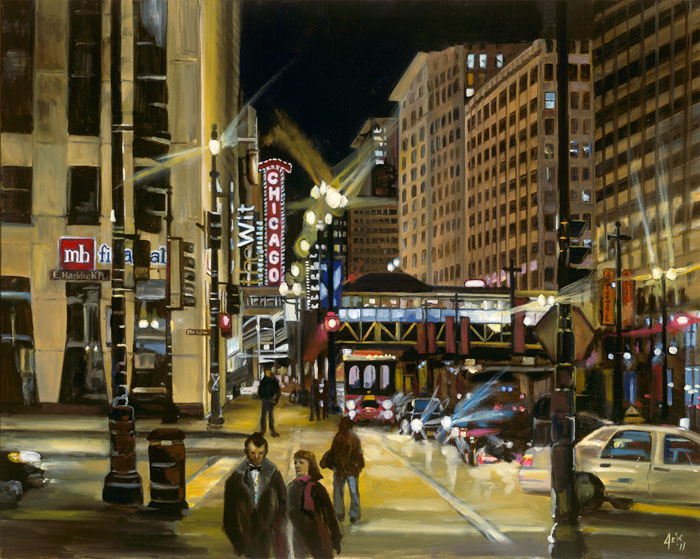 """After the Show"" - 15x12"" Chicago Painting Paper Print"