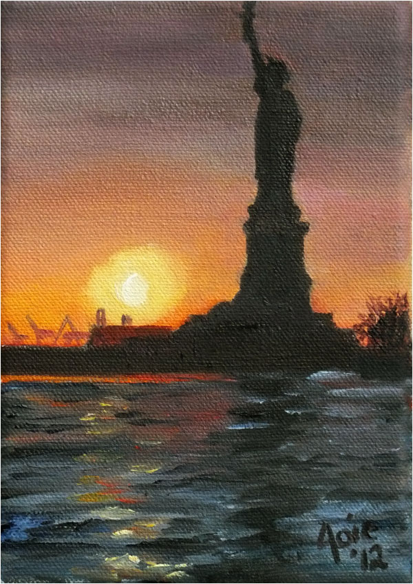 """AMERICA'S BEACON""- 5x7"" Original Oil Painting"