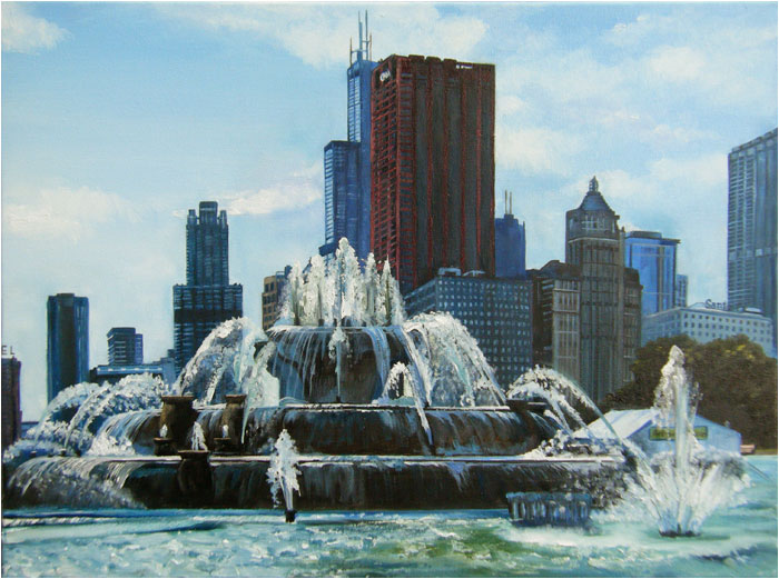 """Backlit Buckingham Fountain"" - 18x14"" Chicago Paper Print"