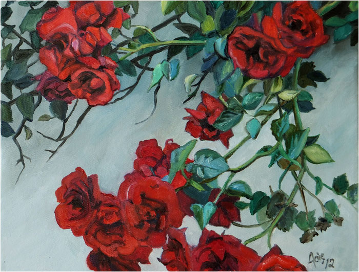 """CASCADING ROSES"" - 14x11"" Original Oil Painting"