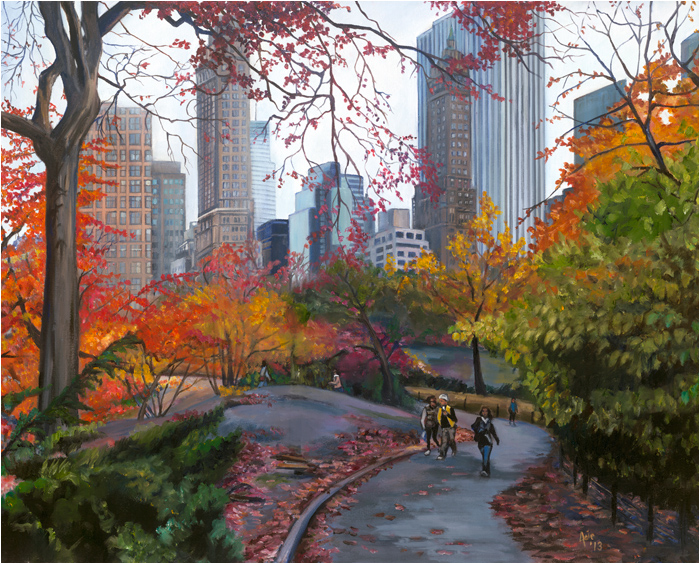 """Central Park Stroll"" -15x12"" Paper Print"