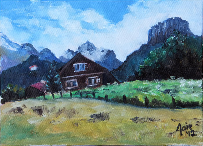 """CHALET""- 8x6"" Original Oil Painting"