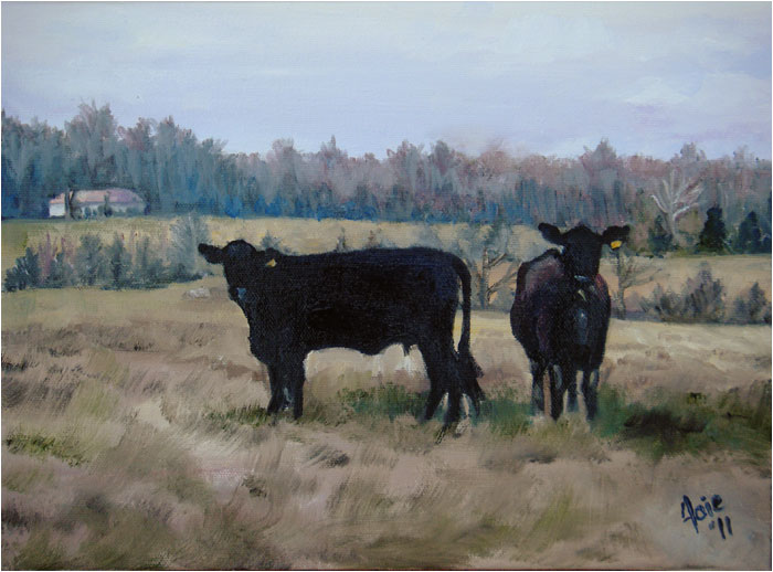 """COUNTRY CATTLE"" - 12x9"" Original Oil Painting"
