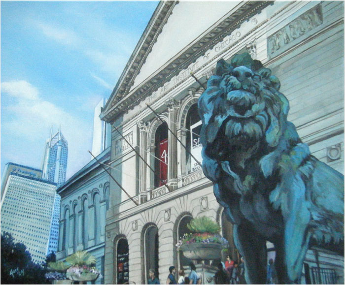 """Defiant Lion"" - 12x10"" Chicago Painting Paper Print"