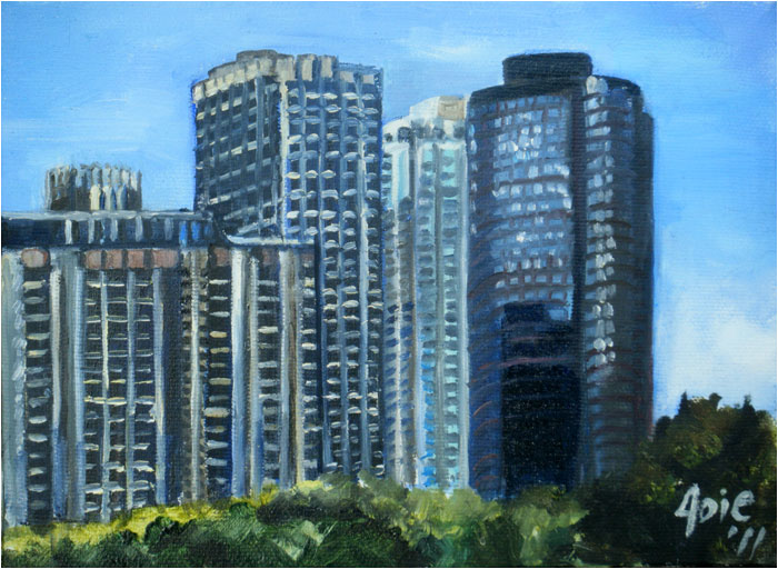 """DELUXE LAKEFRONT APARTMENTS"" - 8x6"" Original Oil Painting"