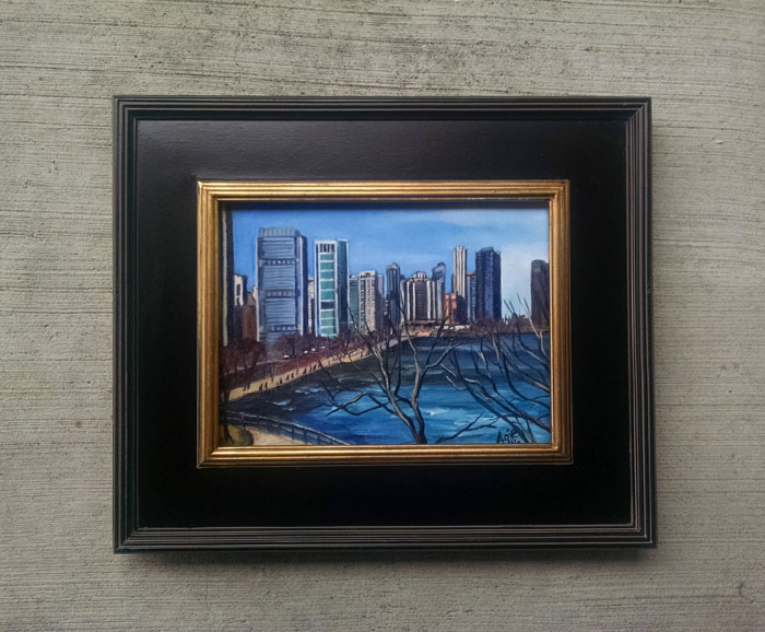 """Lakefront Skyline"" - 12x9"" Original Painting"