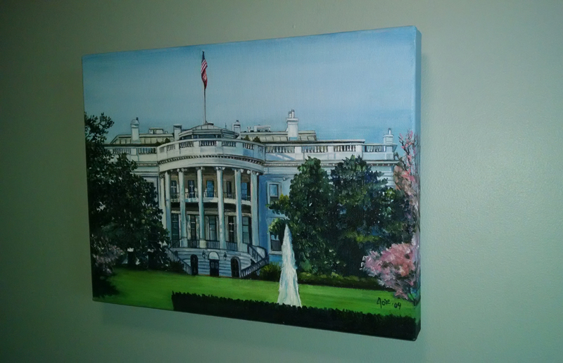 """WHITE HOUSE"" - 16x12"" Original Oil Painting"