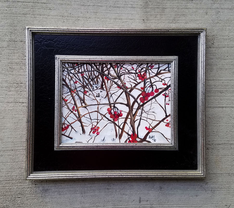 """Winter Berries"" - 12x9"" Original Oil Painting"