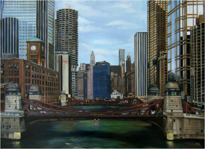 """Green River"" - 24x18"" Chicago Painting Paper Print"