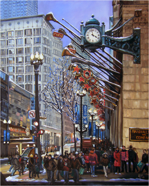 """Holiday on State Street"" - 12x15"" Chicago Painting Paper Print"
