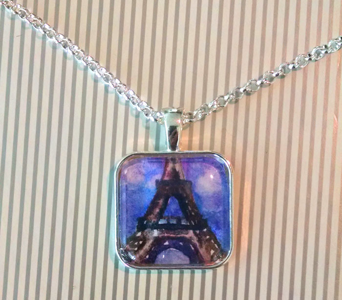 Eiffel Tower Daytime Purple OOAK Painted Pendant