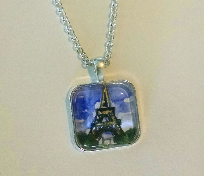 Eiffel Tower With Foreground OOAK Painted Pendant Necklace