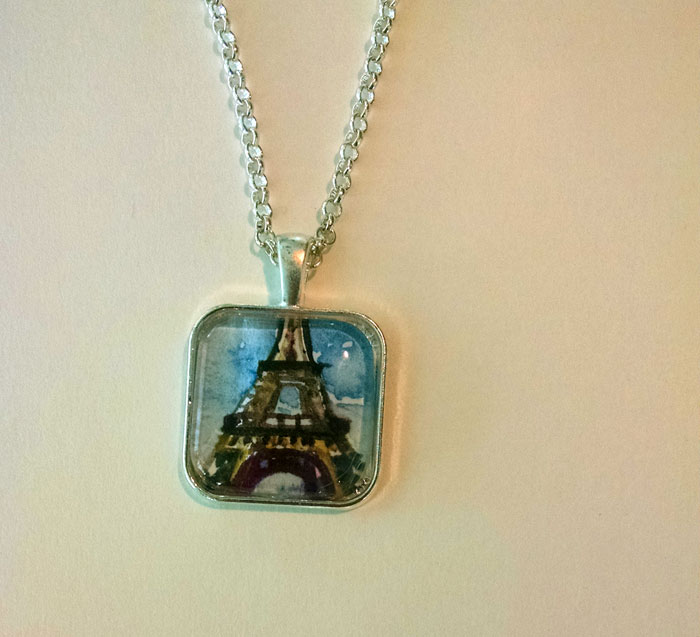 Eiffel Tower Teal Sky OOAK Painted Pendant