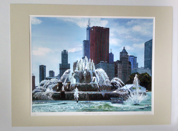 """BACKLIT BUCKINGHAM FOUNTAIN"" - Matted Print"