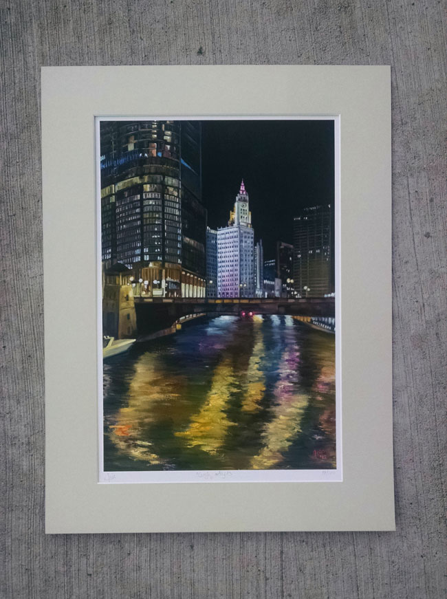 """WRIGLEY LIGHTS"" - Matted Print"