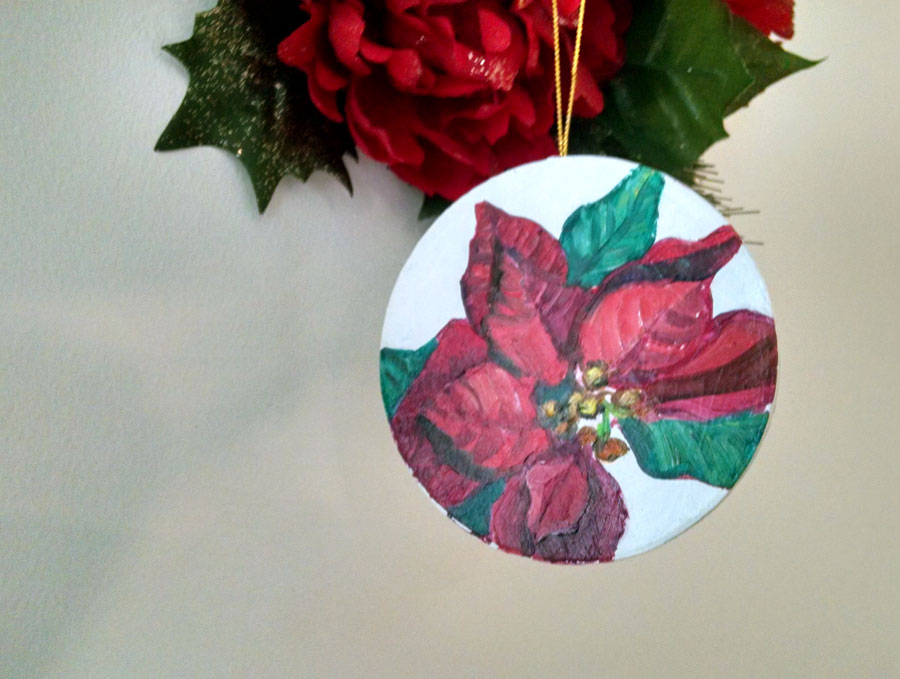 Poinsetia OOAK Painted Ornament