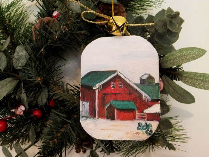 Red and Green Barn OOAK Painted Ornament