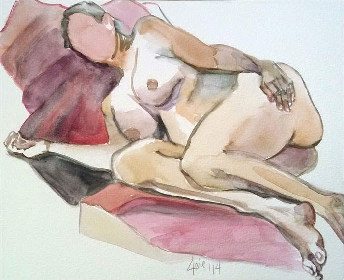 """PILLOWS"" - 10x8"" Original Watercolor Painting"