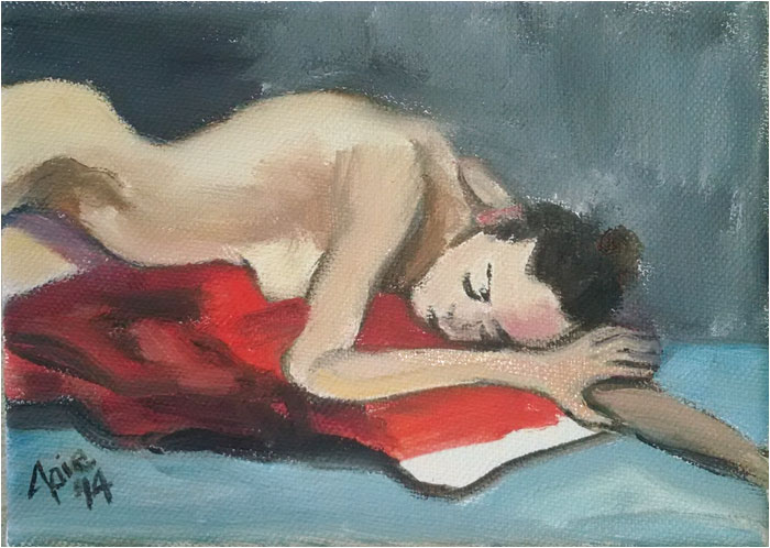 """RED PILLOW"" - 5x7"" Original Oil Painting"