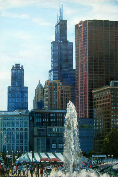 """Tall Towers - 12x18"" Chicago Painting Paper Print"
