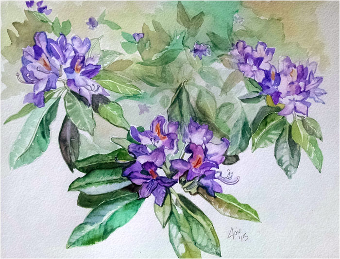 """TRAIL FLOWERS""- 14x11 Original Watercolor Painting"