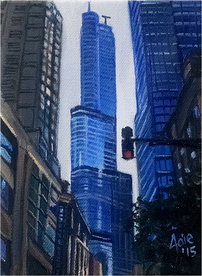 """TRUMP TOWER"" - 5x7"" Original Oil Painting"