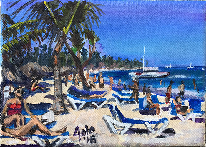 """Vacation Beach"" - 7x5"" Original Oil Painting"