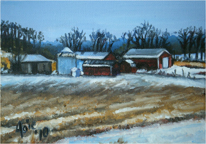 """WINTER FARM"" - 7x5"" Original Oil Painting"