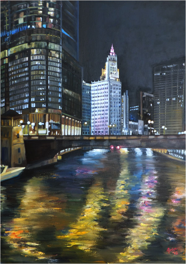 """Wrigley Lights"" - 12x18"" Chicago Painting Paper Print"