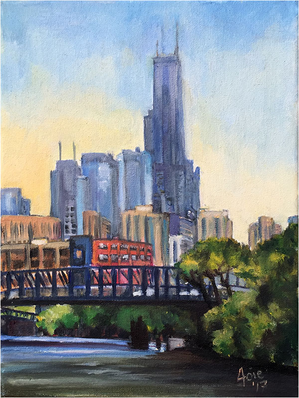 Blue Bridge Chicago Painting