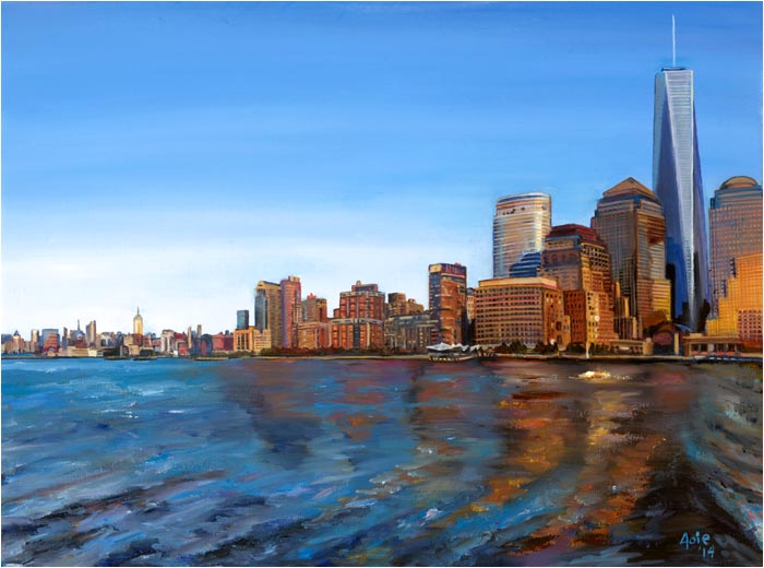 New York Skyline World Trade Center Painting, Freedom Tower