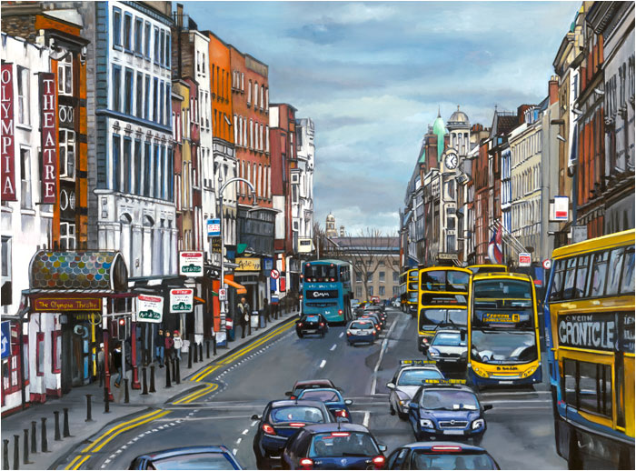 Temple Bar Traffic Dublin Oil Painting