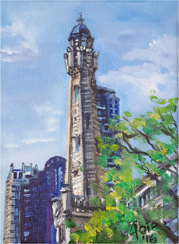 Chicago Water Tower painting