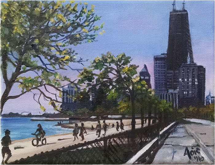 Mini Oil Painting of Lake Shore Drive in Chicago