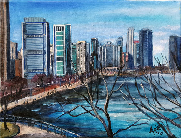 Plein Air painting of South Shore Chicago Lakefront Skyline