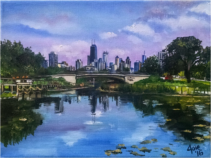 Lincoln Park Painting, Park Bridge