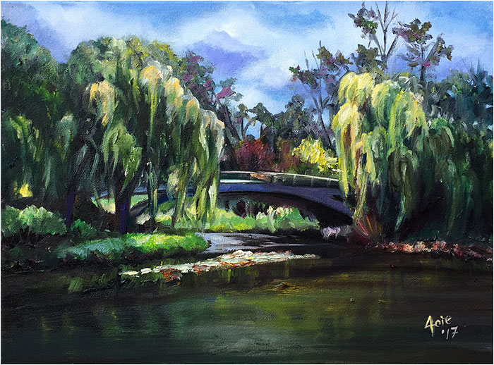 Willow Bridge Landscape Painting from Chicaog Botanic Garden