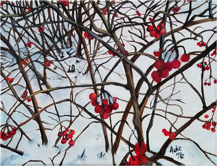 Winter Berries landscape painting