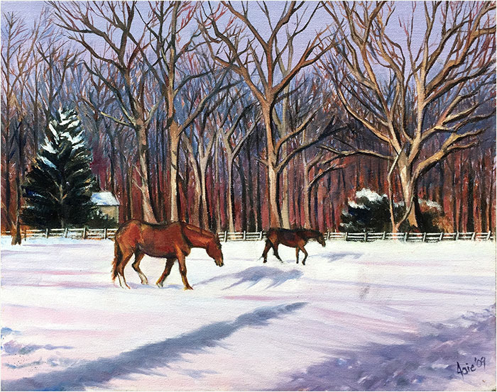 Winter Pasture Oil Painting