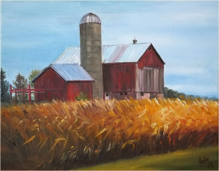 Wisconsin farm oil painting, Yield