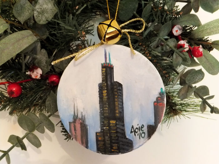 Sears Tower Christmas OOAK Painted Ornament